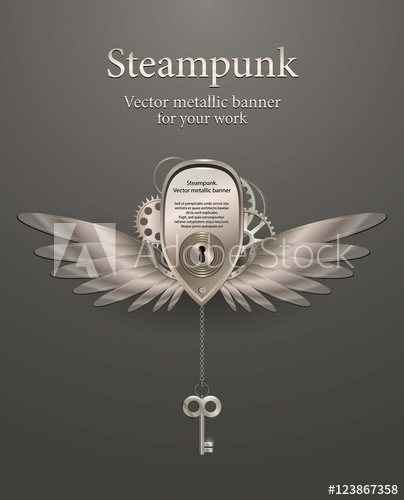 404x500 Silver Metallic Banner With Wings, A Keyhole And Key. Steampunk