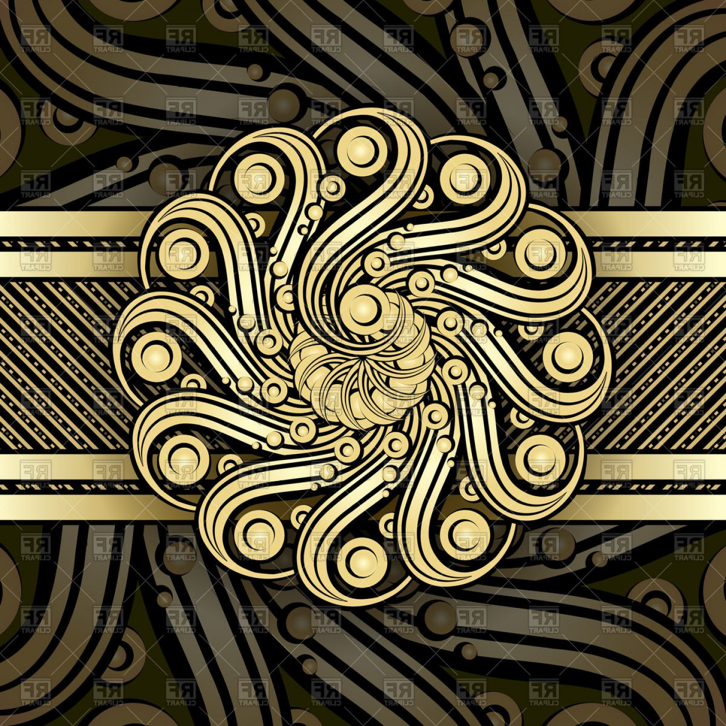 1440x1440 Steampunk Background With Metallic Swirl Elements Vector Clipart
