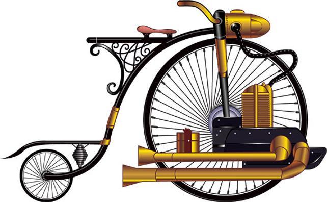 642x396 Steampunk Bike Vector Art Print Etsy