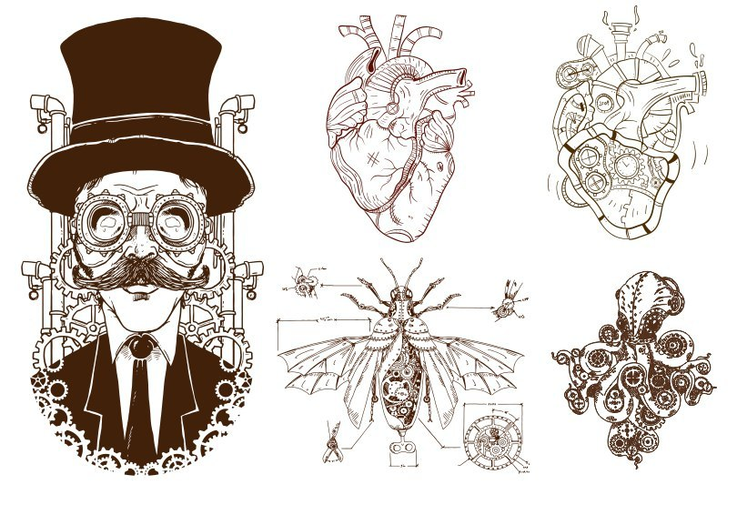 810x566 Steampunk Decor Vector Art Free Vector Download