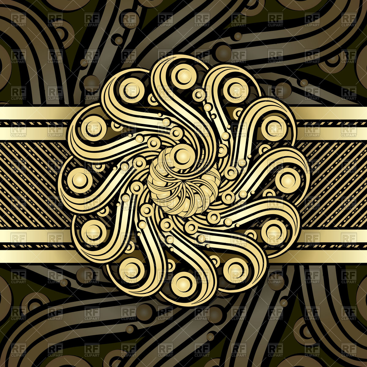 1200x1200 Steampunk Background With Metallic Swirl Elements Vector Image
