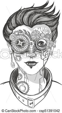 258x470 Steampunk Girl Illustration. Steampunk Girl, Monochrome Vector