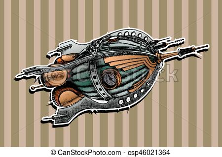 450x319 Steampunk Rocket. Vector Illustration. Painted By Hand.