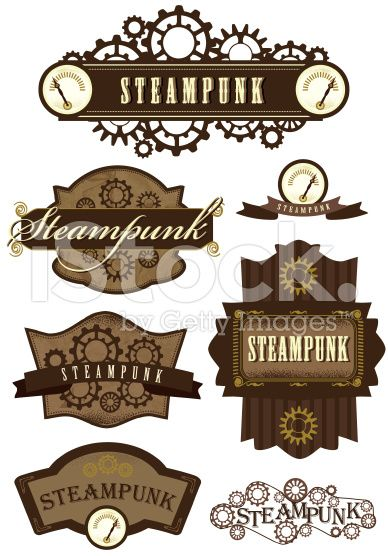388x556 Vector Illustration Of Assorted Steampunk Labels. Includes