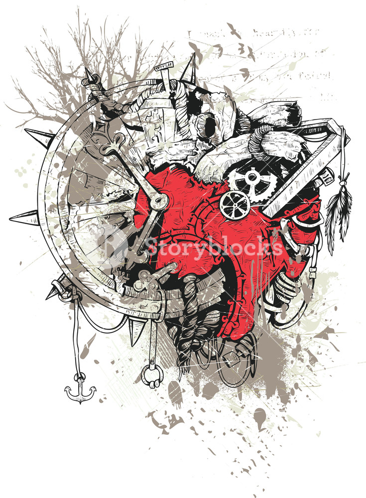 735x1000 Grunge Vector T Shirt Design With Steampunk Heart Royalty Free