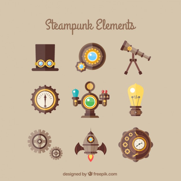 626x626 Steampunk Element Collection Vector Free Download