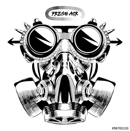 495x500 Steampunk Vintage Design Vector Drawing. Gas Mask Punk Respirator