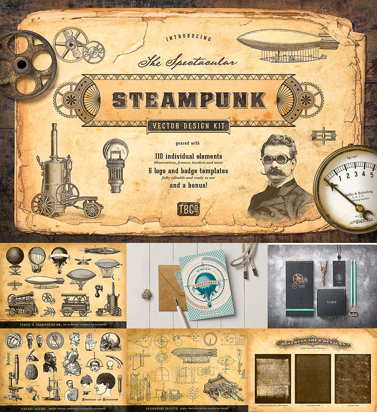 1200x1314 The Steampunk Vector Design Kit Free Download