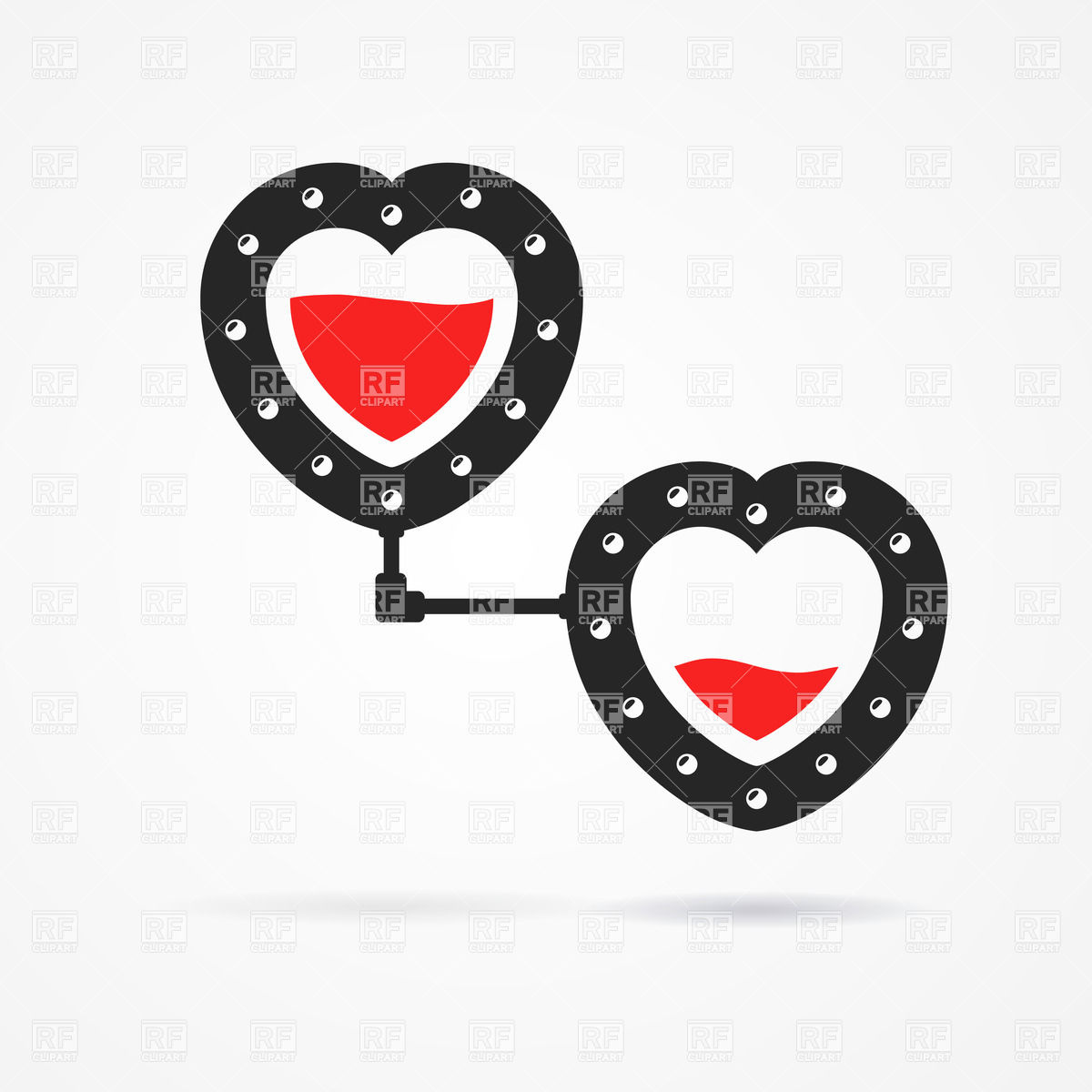1200x1200 Two Connected Hearts In Steampunk Style Vector Image Vector