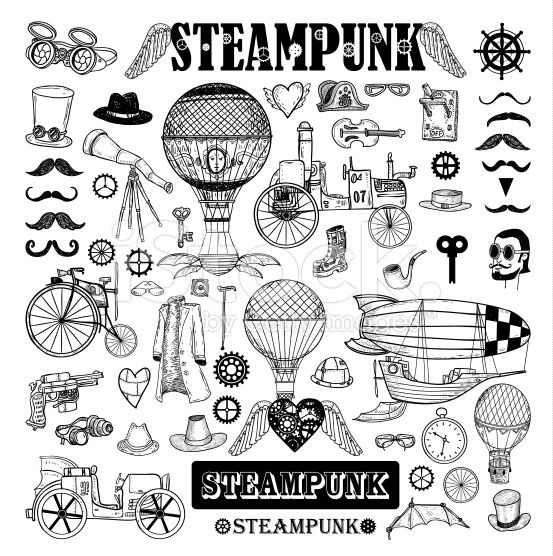 553x556 Free Vector Line Art Steampunk Collection Hand Drawn Vector