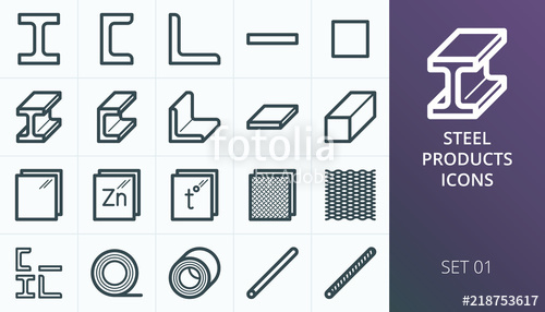 500x286 Metal And Steel Products Icons. Metallurgy Industry Vector Icons