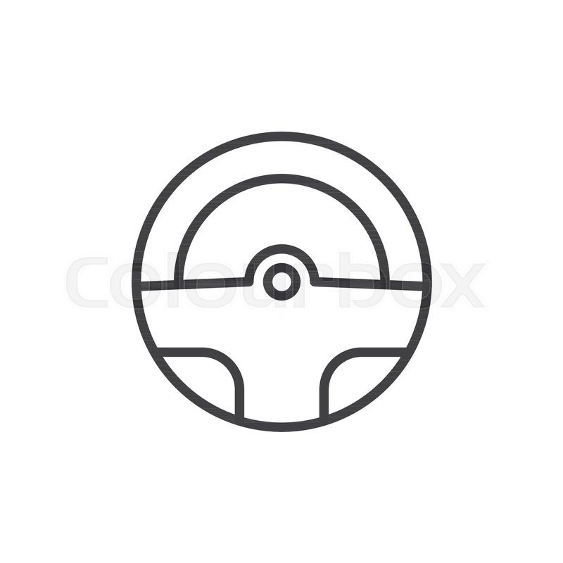 800x800 Steering Wheel Line Icon, Outline Vector Sign, Linear Style