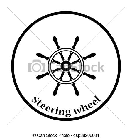 450x470 Icon Of Steering Wheel . Thin Circle Design. Vector Illustration.