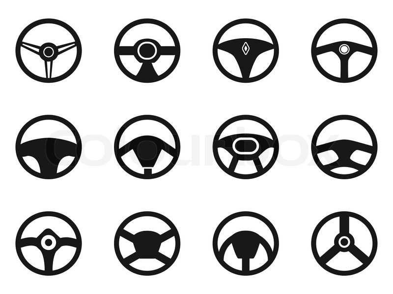 800x600 Isolated Steering Wheel Icons Set From White Background Stock