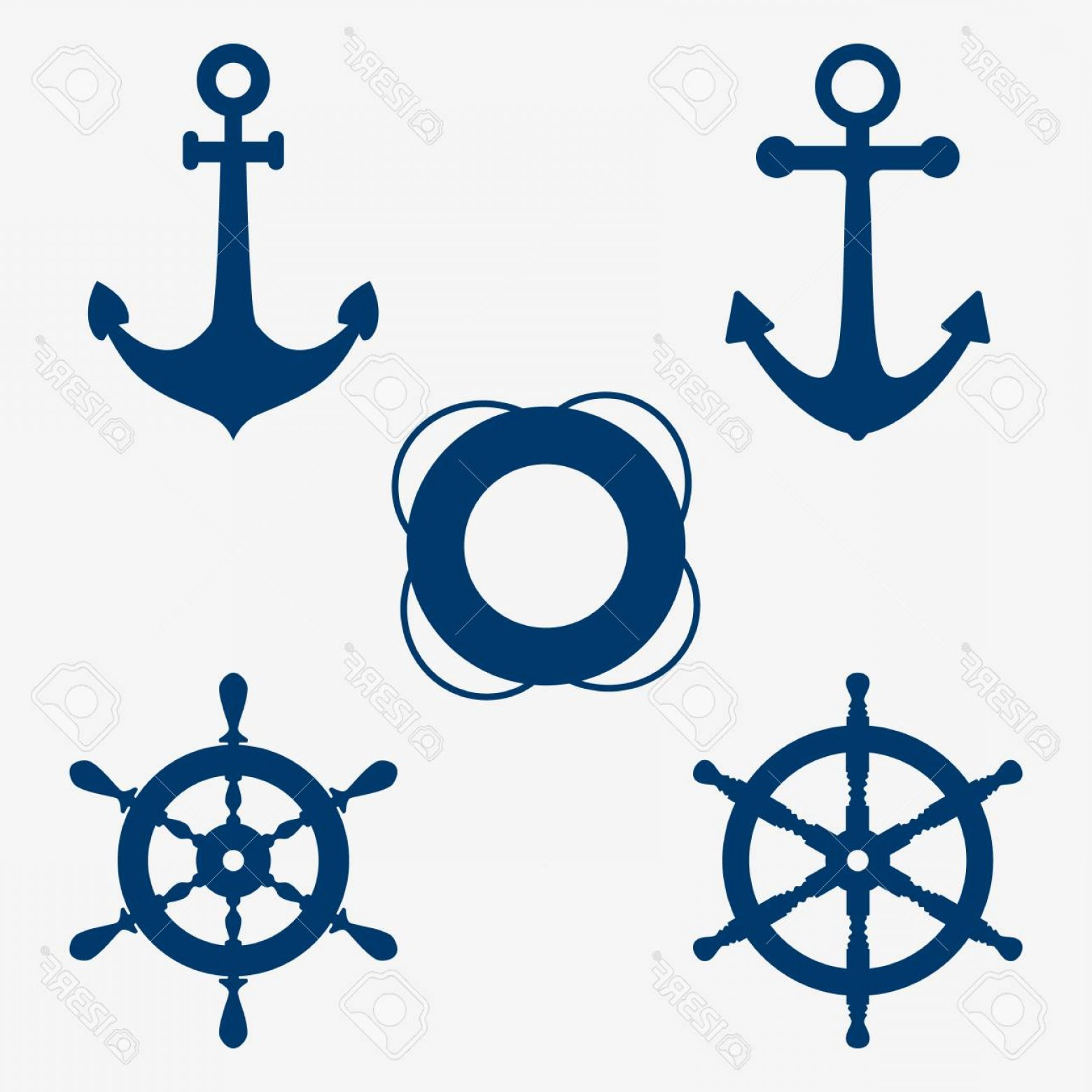 1560x1560 Photostock Vector Set Of Images Of An Anchor Lifebuoy And Steering