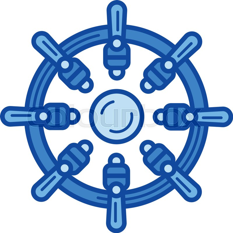 800x800 Ship Steering Wheel Vector Line Icon Isolated On White Background
