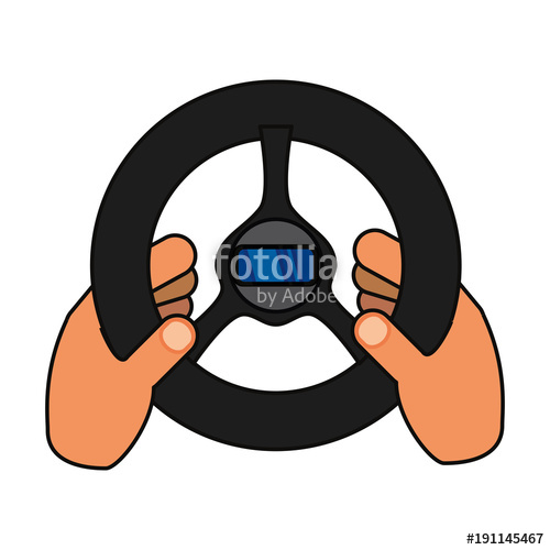 500x500 Hand With Steering Wheel Vector Illustration Stock Image And