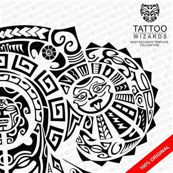 600x600 Maori Warrior Of Fury Vector Tattoo Template Stencil