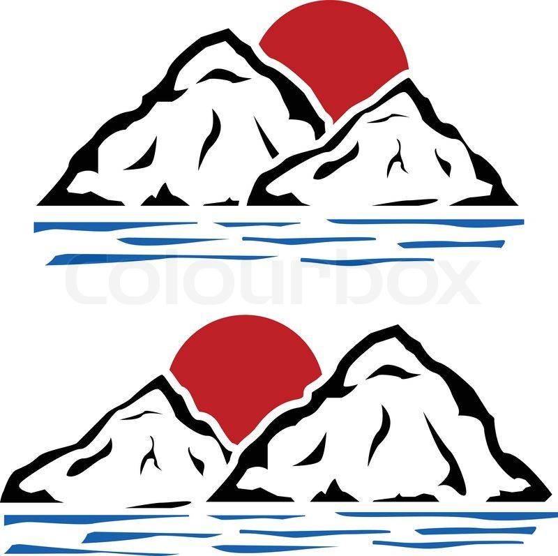 800x797 Stencils Of Mountains Stock Vector Colourbox
