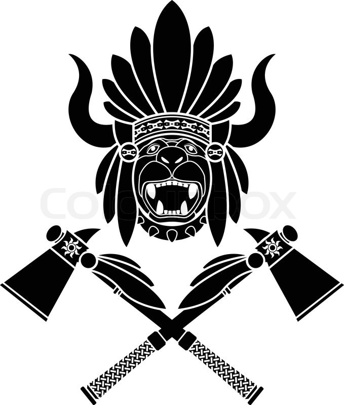 679x800 American Indian Headdress And Tomahawks. Second Variant. Stencil
