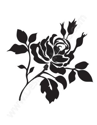 316x409 V14 Free Rose Vector Graphic Stencil Clip Art