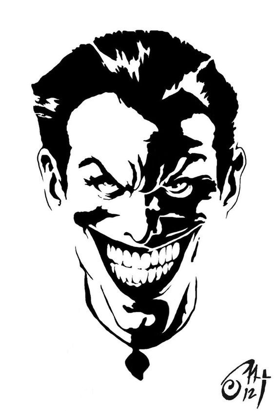564x842 Black And White Joker Stencil Vector Dxf File Free Download