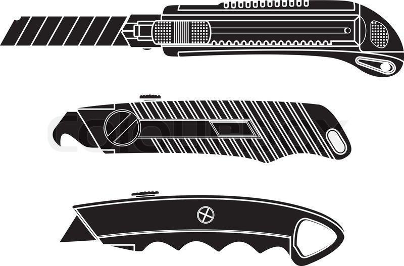 800x527 Cutter Knifes. Stencil. Vector Illustration Stock Vector Colourbox