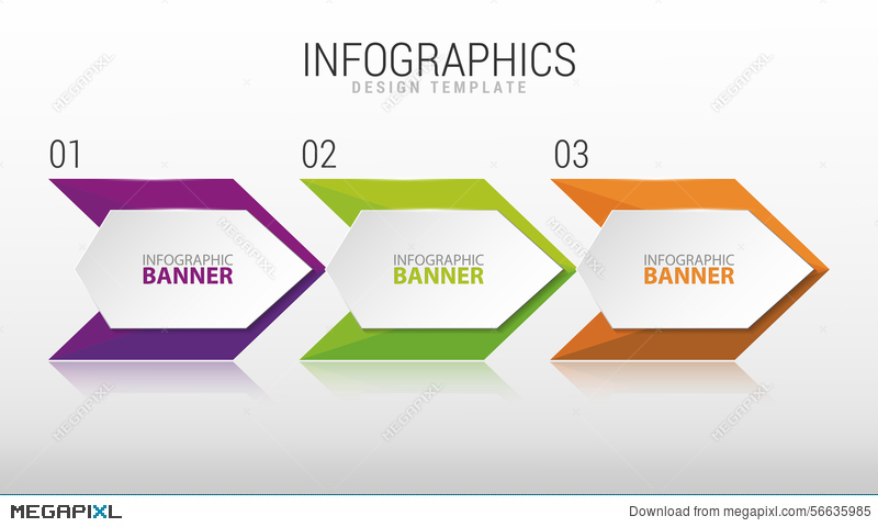 800x480 Modern Infographic Design Template. Three Steps. Vector