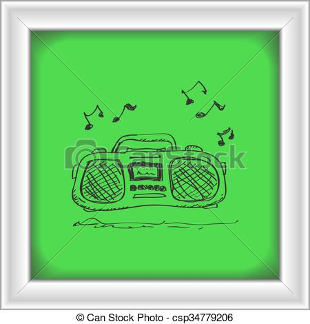450x470 Simple Doodle Of A Stereo. Simple Hand Drawn Doodle Of A... Vector