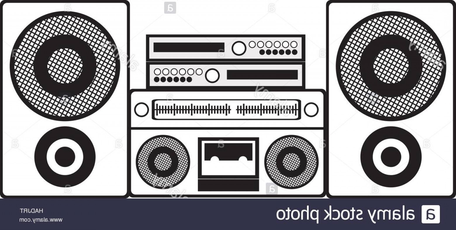 1560x788 Stock Photo Contour Monochrome With Sound System Stereo Vector
