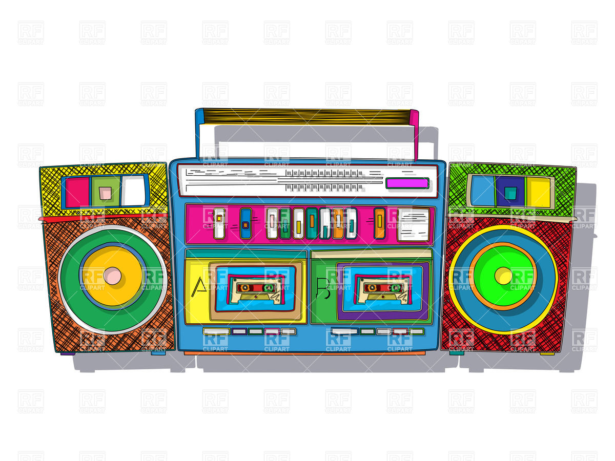 1200x900 Vintage Stereo Double Tape Cassette Player, Pop Art Boombox Vector