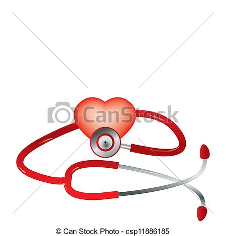 450x470 Red Stethoscope And Red Heart Vector.