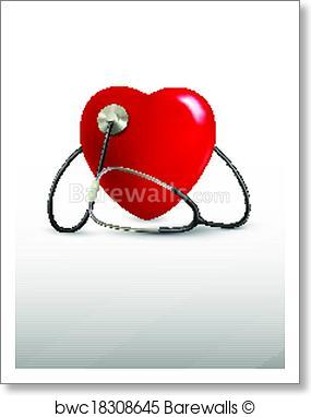 285x382 Art Print Of Background With A Stethoscope And A Heart. Vector