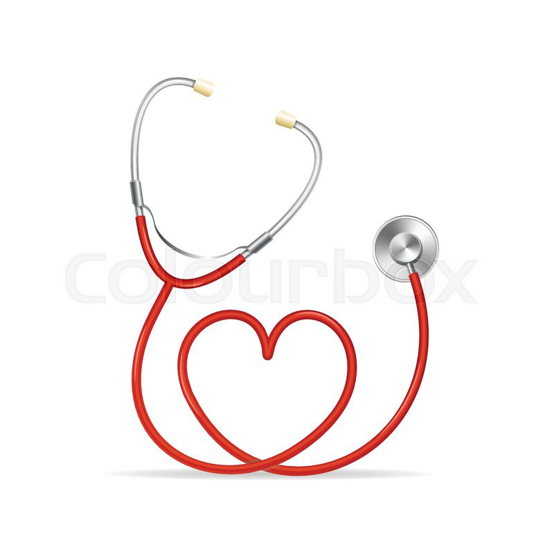 800x800 Vector Red Stethoscope In Shape Of Heart Stock Vector Colourbox