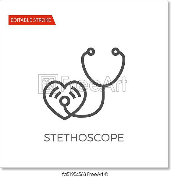 561x581 Free Art Print Of Stethoscope Vector Icon. Stethoscope Thin Line