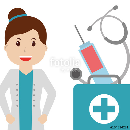500x500 Smiling Doctor Female First Aid Kit Syringe And Stethoscope Vector