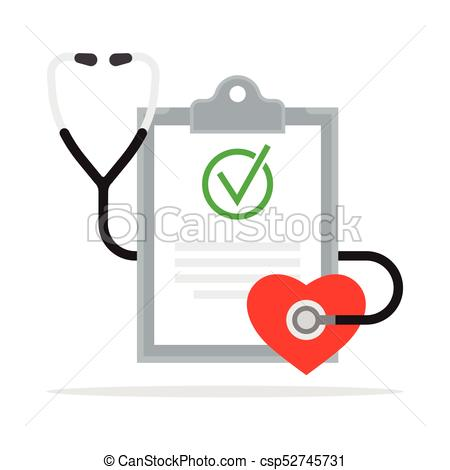450x470 Diagnosis. Medical Report With Stethoscope. Vector Illustration.