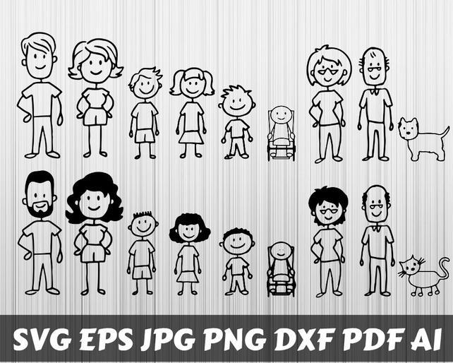 642x514 Family Svg Stick Family Svg Stick Family Clipart Family Etsy