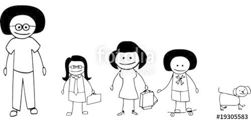 500x244 Afro Haircut Stick Figure Family Stock Image And Royalty Free