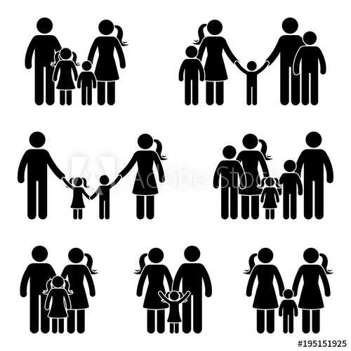 500x500 Stick Figure Family Icon Set. Vector Illustration Of People In