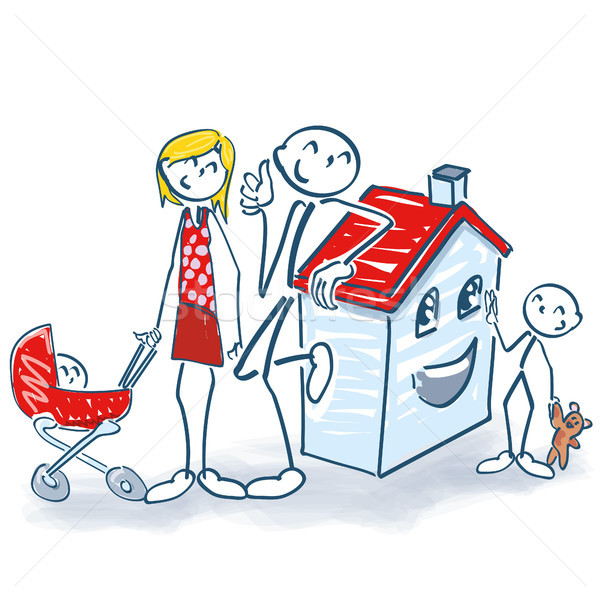 600x600 Stick Figure With House And Home For Small Family Vector