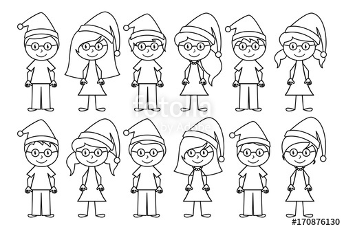500x333 Vector Collection Of Line Art Christmas Or Holiday Themed Stick