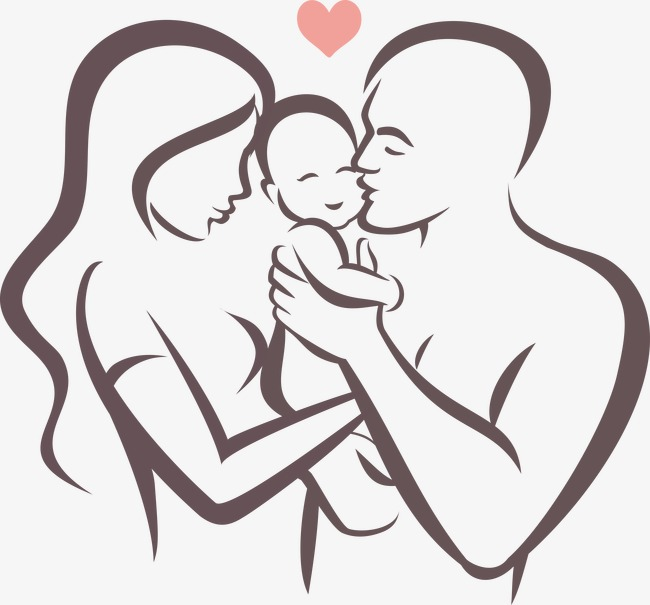 650x605 Vector Line Drawing Happy Family, Care, Baby, Stick Figure Png And