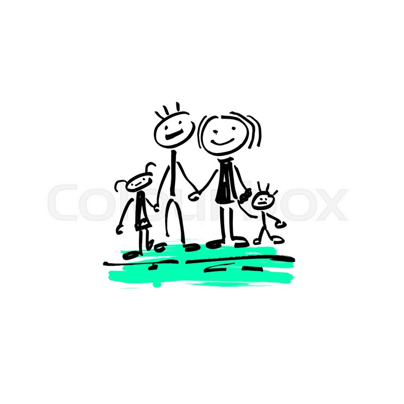 800x800 Hand Drawing Sketch Doodle Human Stick Figure Happy Family Father