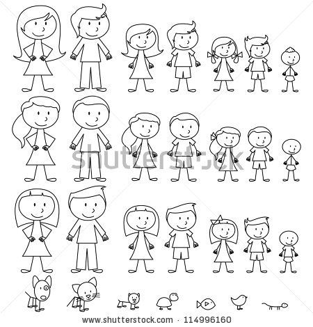 450x470 Large Set Of Stick Figure People And Pets By Pinkpueblo, Via