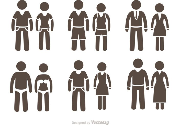 700x490 Free Vector Couple Stick Figure Icons Vector Pack