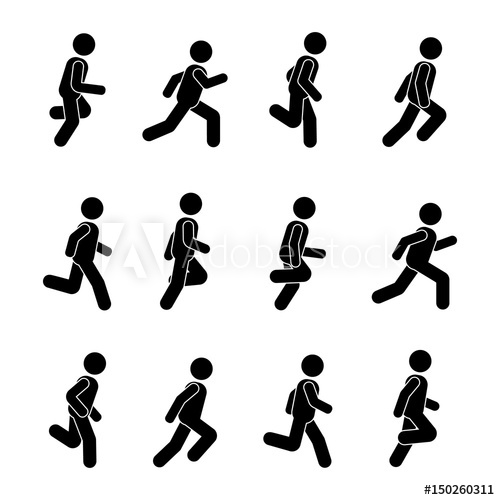500x500 Man People Various Running Position. Posture Stick Figure. Vector