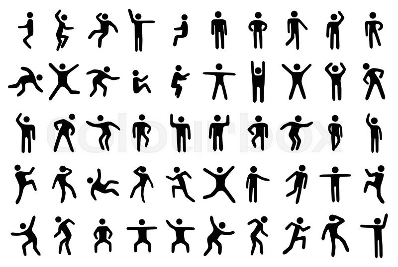 800x538 50 Stick Figure Set, Person In Different Sport Poses On White