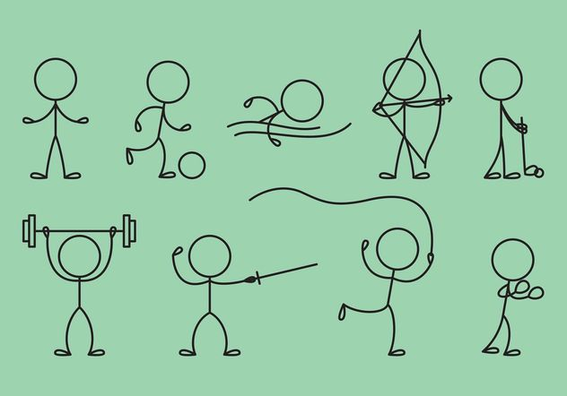 632x442 Stick Figure Icons Sports Free Vector Download 142743 Cannypic