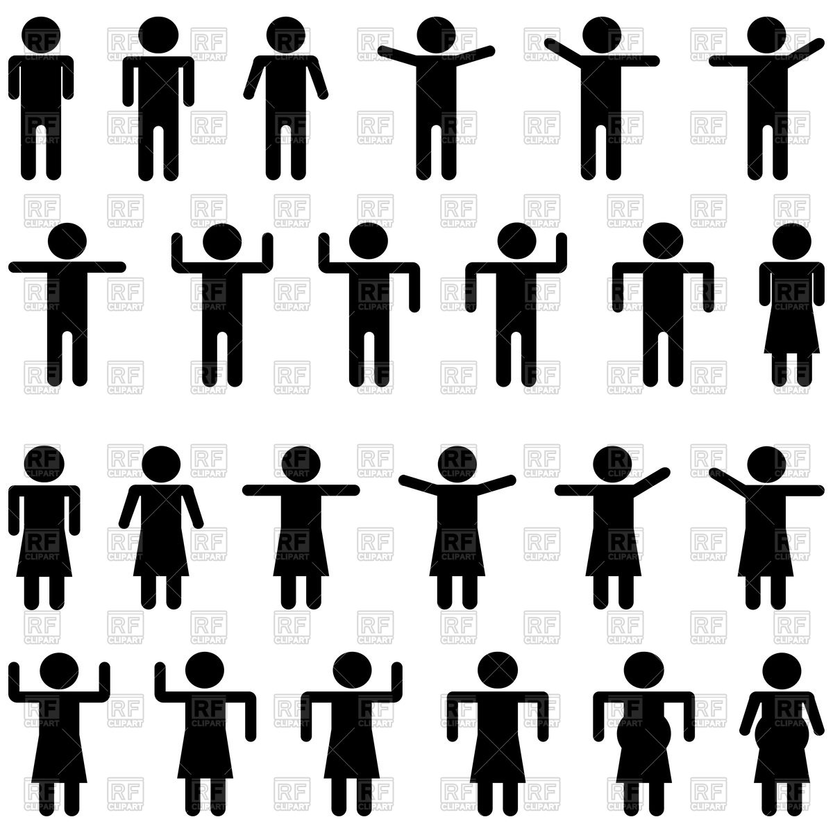 1200x1200 Black Stick Figure Or Statuette Figurines Icons Vector Image